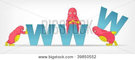 Cartoon Character Funny Monster Isolated on Grey Gradient Background. Communication. Vector EPS 10.