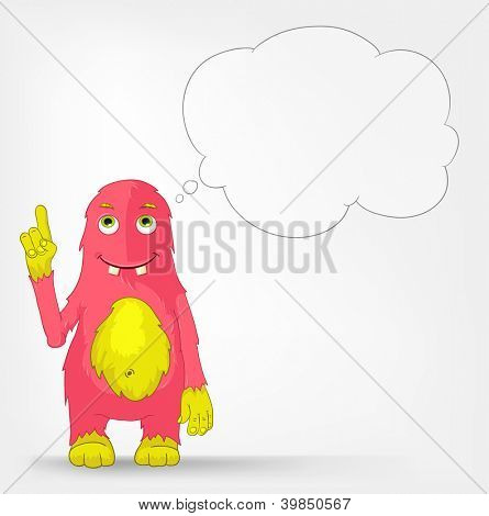 Cartoon Character Funny Monster Isolated on Grey Gradient Background. Idea. Vector EPS 10.