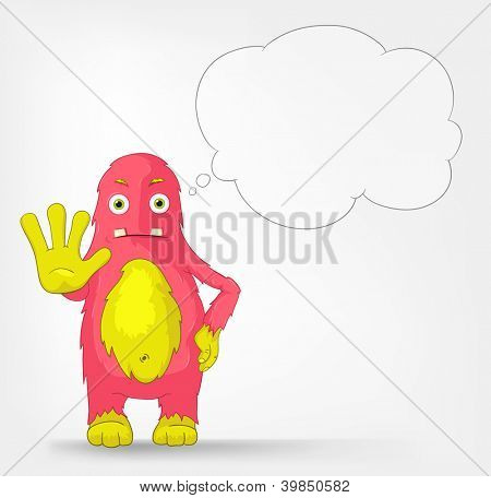 Cartoon Character Funny Monster Isolated on Grey Gradient Background. Stop. Vector EPS 10.