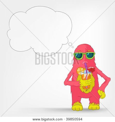 Cartoon Character Funny Monster Isolated on Grey Gradient Background. Cocktail. Vector EPS 10.