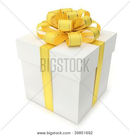 Gift Box With Yellow Ribbon And Bow