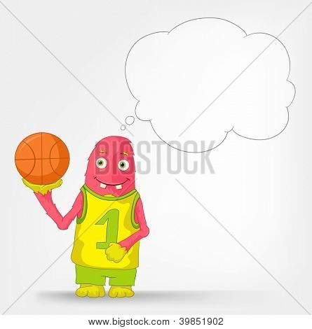 Cartoon Character Funny Monster Isolated on Grey Gradient Background. Basketball . Vector EPS 10.