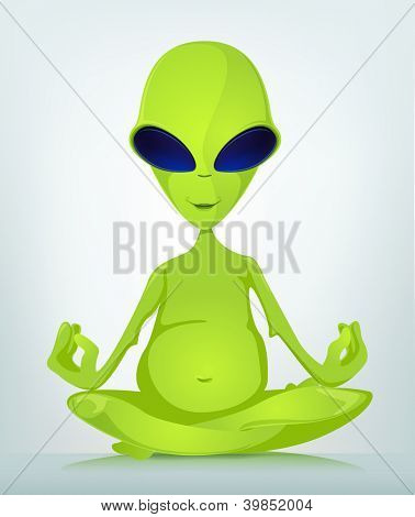 Cartoon Character Funny Alien Isolated on Grey Gradient Background. Yoga. Vector EPS 10.