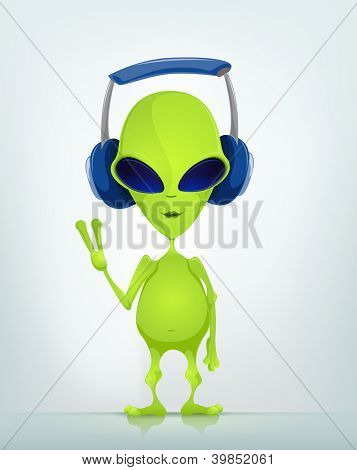 Cartoon Character Funny Alien Isolated on Grey Gradient Background. Listening to Music. Vector EPS 10.