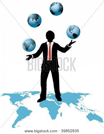 Global business man juggling world wide business time zones