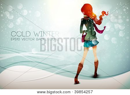 Stepping into the Winter | Layered EPS10 Vector Background