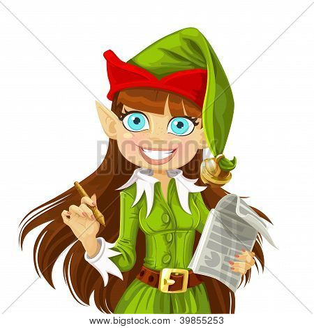 Cute girl Christmas Elf with pen ready to write wishes isolated on white background