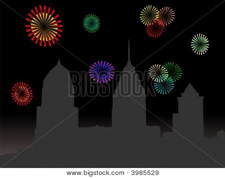 Philadelphia Skyline With Fireworks
