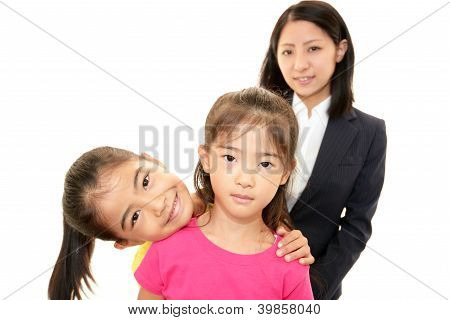Smiling teacher with girls
