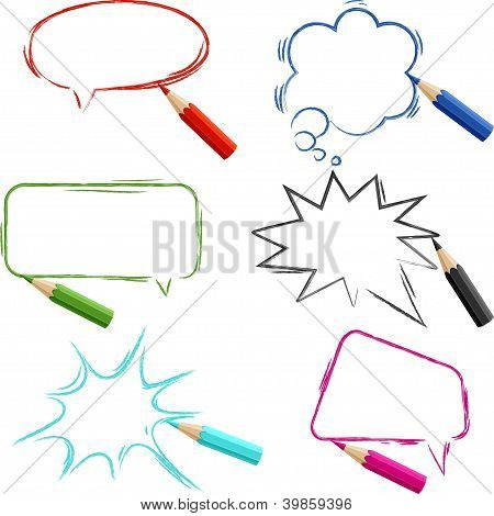 Set of hand-drawn speech bubbles with pencils.