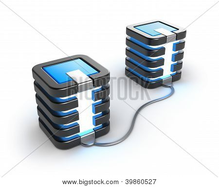 Mainframe servers connected to each other. On white background.