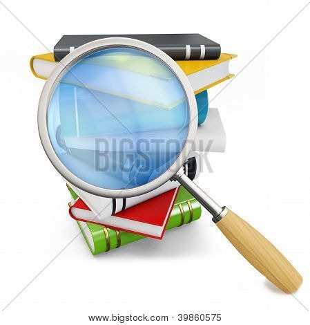 3D Books With Magnifying Glass