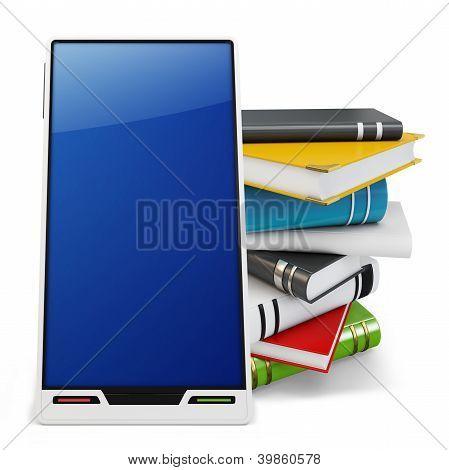 3D Smartphone genérico com livros
