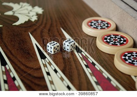 Backgammon Table And Dice