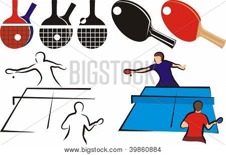 table tennis - equipment and sihouette