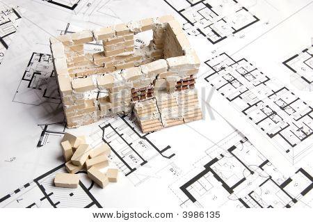 House Over Blueprint