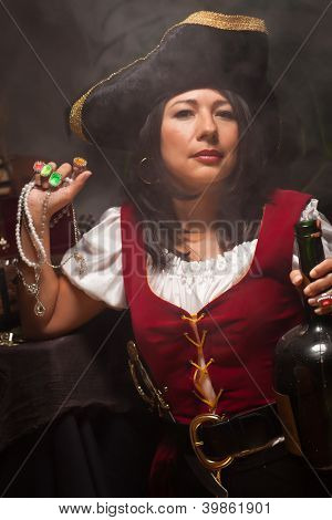 Dramatic Female Pirate in a Dimly Lit Moody Scene.
