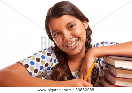 Pretty Smiling Hispanic Girl Studying Isolated on a White Background.