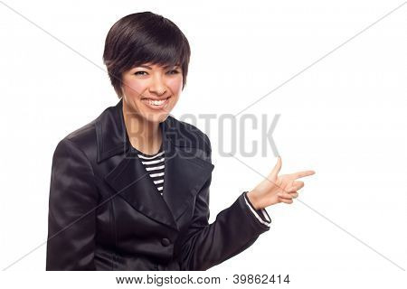 Happy Young Mixed Race Woman Pointing to the Side Isolated on White.