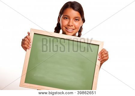 Pretty Hispanic Girl Holding Blank Chalkboard Ready for your Own Message Isolated on a White Background.