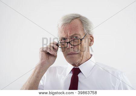 Handsome Retired Man In Glasses
