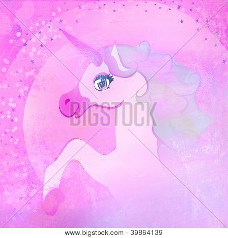 Illustration Of Beautiful Pink Unicorn.