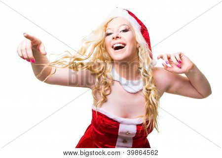 Beautiful Sexy Santa Girl Wearing Santa Claus Clothes