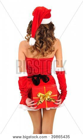 Isolated young christmas woman holding gift