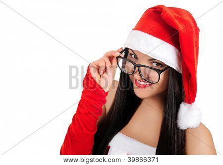 Isolated geek brunette christmas girl