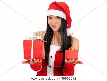 Isolated young brunette christmas girl choose gift