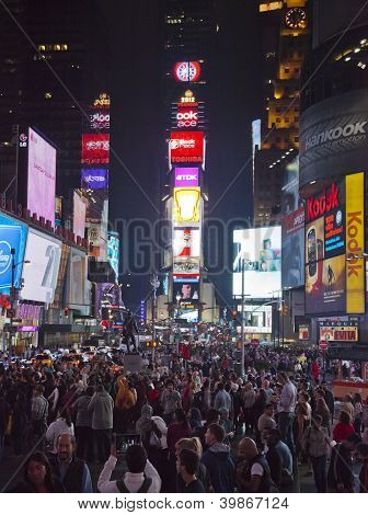 New York City - Sept 28: Times Square, Full Of Tourists From All The World's Countries, Featured Wit