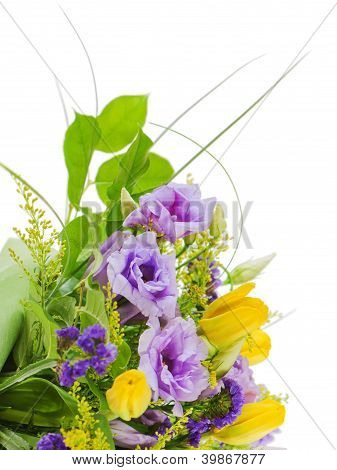 Fragment Of Colorful Bouquet Of Roses, Tulips And Freesia Isolated On White Background