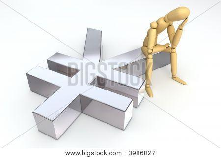 Lay Figure Sitting On Yen Symbol