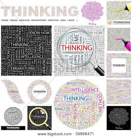THINKING. Word collage. GREAT COLLECTION.