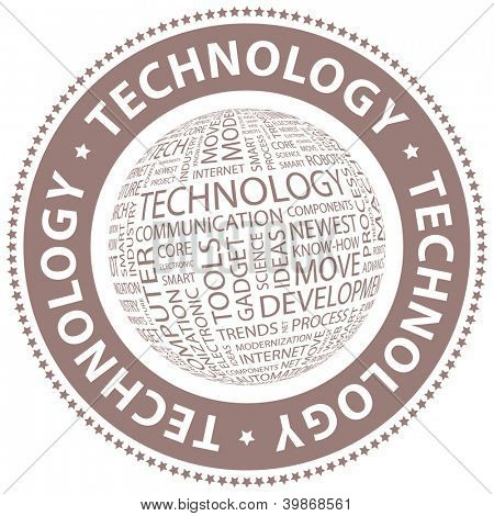 TECHNOLOGY. Word collage. Vector illustration.