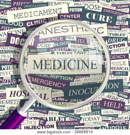 MEDICINE. Word collage. Vector seamless illustration.