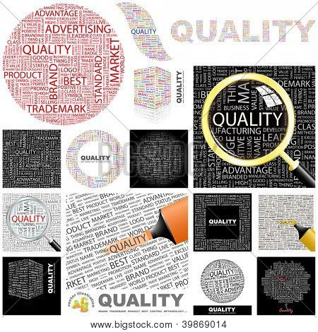 QUALITY. Word collage. GREAT COLLECTION.