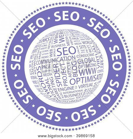 SEO. Word collage. Vector illustration.