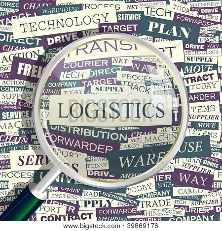 LOGISTICS. Word collage. Seamless vector illustration.