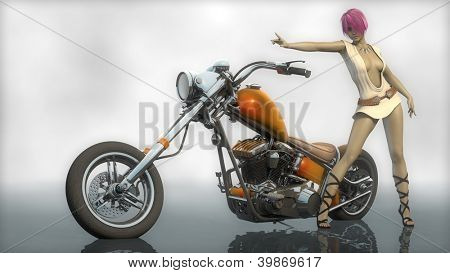 chopper custom bike and the girl