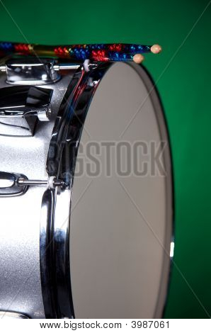 Silver Sparkle Snare Drum Isolated On Green