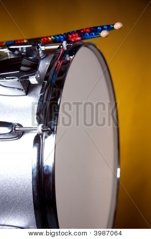 Silver Sparkle Snare Drum Isolated On Gold Background