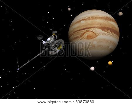 Voyager Spacecraft Near Jupiter And Its Satellites - 3D Render