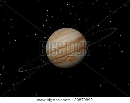 Jupiter Planet And Its Unknown Ring At Night - 3D Render