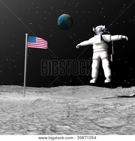 First Man On The Moon - 3D Render