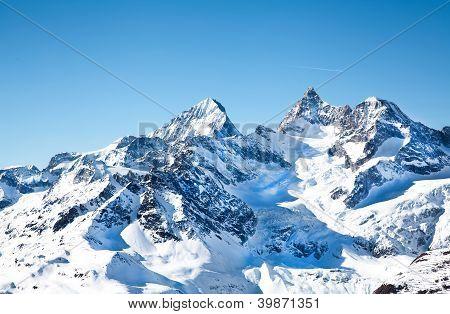 Alpine Hills In Snow In February