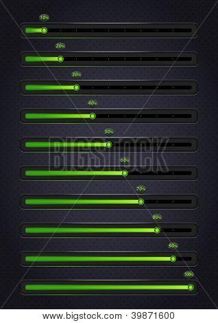 Glowing green progress bars. 10-100%