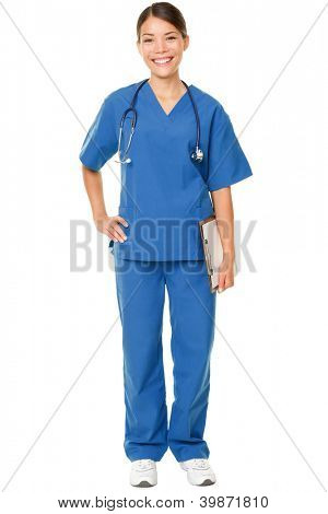Young doctor. Studio shot over white of a young Asian female doctor, wearing blue scrubs and with a stethoscope draped around her neck