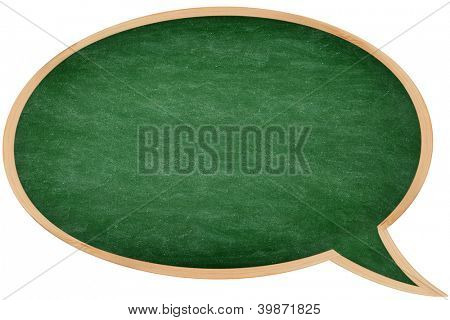 Speech bubble chalkboard / blackboard with frame isolated on white background. Great texture. From photo.