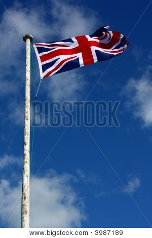 Union Flag On Windy And Flagpole